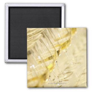 Glasses of white wine for wine tasting, close up square magnet