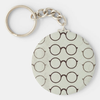 Glasses Vintage Basic Round Button Keychain