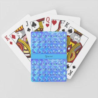 Glassy Blue Beads Poker Deck
