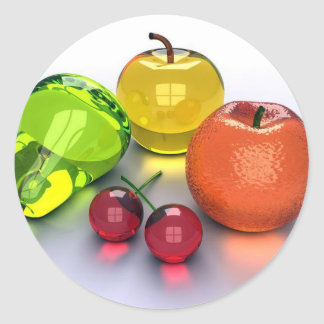 glassy fruits classic round sticker