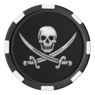 Glassy Pirate Skull & Sword Crossbones Poker Chips