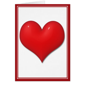 Glassy Red Heart Greeting Card