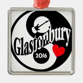 Glastonbury 2016 Silver-Colored square ornament