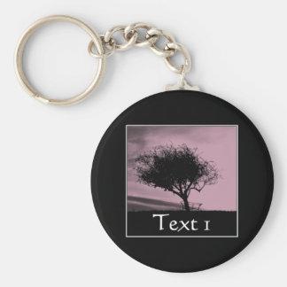 Glastonbury Hawthorn. Tree on Hill. Pink, Black. Basic Round Button Keychain