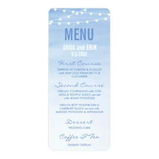 "Glaucous Blue Watercolor String Lights Menu Card 4"" X 9.25"" Invitation Card"