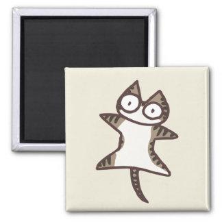 Glay Tabby Cat Square Magnet