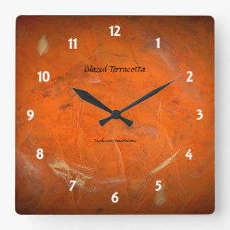 Glazed Terracotta Square Wall Clock