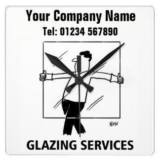 Glazing Services Cartoon Clock