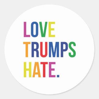 GLBT Love Trumps Hate Round Sticker