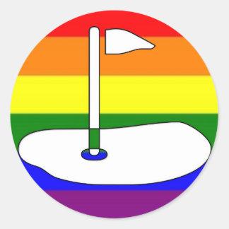 GLBT Pride Golfing Adventure Classic Round Sticker