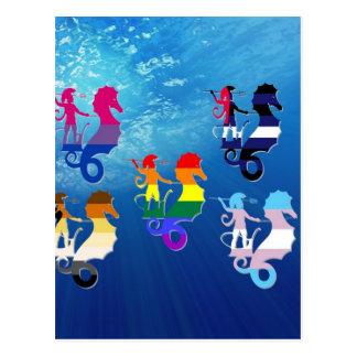 GLBT Pride School of Seahorses Postcard