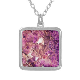 Gleaming Purple Geode Crystals Silver Plated Necklace