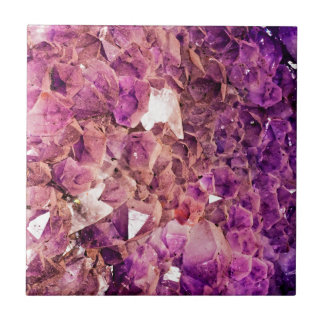 Gleaming Purple Geode Crystals Tile