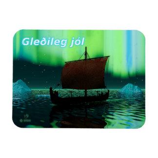 Gleðileg jól - Viking Ship And Northern Lights Rectangular Photo Magnet