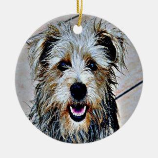 Glen of Imaal Terrier Pop Art Round Ceramic Ornament