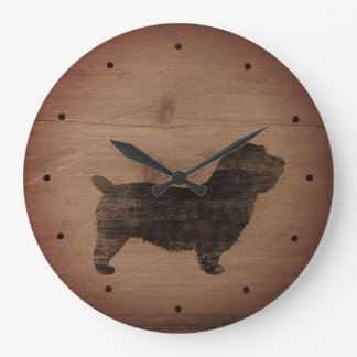 Glen of Imaal Terrier Silhouette Rustic Style Large Clock