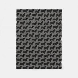 Glen of Imaal Terrier Silhouettes Pattern Grey Fleece Blanket