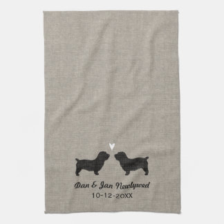 Glen of Imaal Terrier Silhouettes with Heart Kitchen Towel