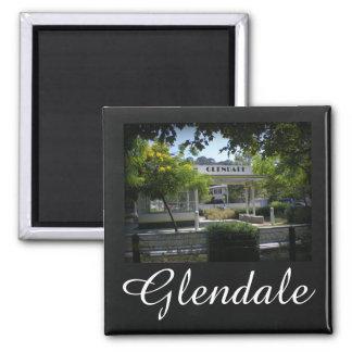 Glendale, California Adams Square Gas Station Square Magnet