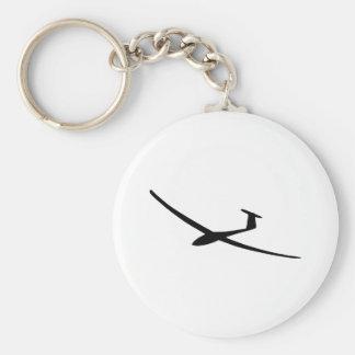 glider sailplane basic round button keychain