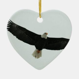 Gliding bald eagle ceramic heart ornament