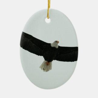Gliding bald eagle ceramic oval ornament