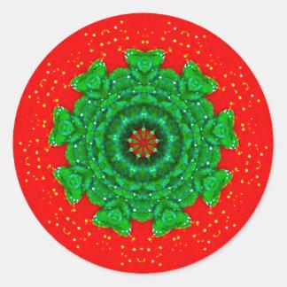 Glistening Christmas Fractal Classic Round Sticker