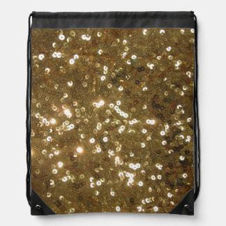 Glistening Gold Sequin Drawstring Bag