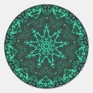 Glistening Green Star Fractal Classic Round Sticker