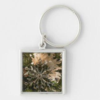 Glistening Holidays Silver-Colored Square Keychain