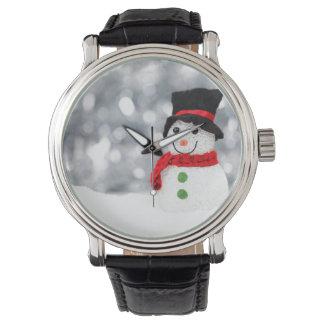 Glistening Snowman Watch Vintage Leather Strap
