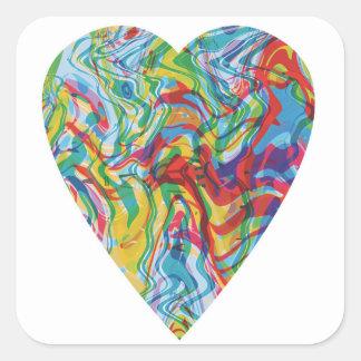 Glitch Art Heart #2 Square Sticker