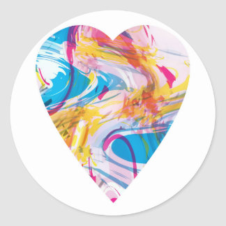 Glitch Art Heart Classic Round Sticker