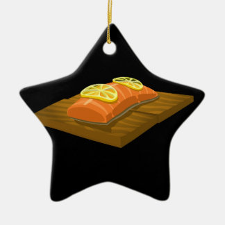 Glitch Food cedar plank salmon Ceramic Star Ornament