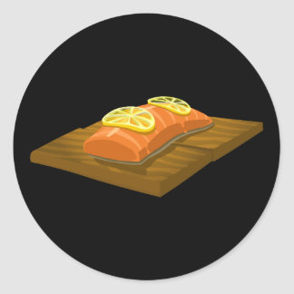Glitch Food cedar plank salmon Classic Round Sticker