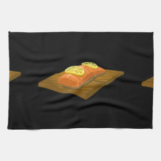 Glitch Food cedar plank salmon Kitchen Towel