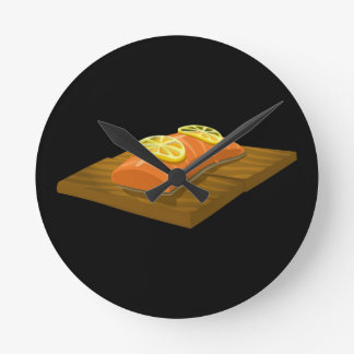 Glitch Food cedar plank salmon Round Clock