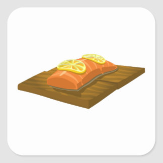 Glitch Food cedar plank salmon Square Sticker
