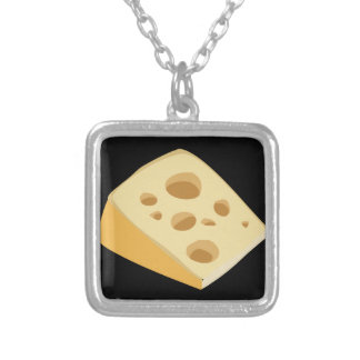 Glitch Food cheese stinky Silver Plated Necklace