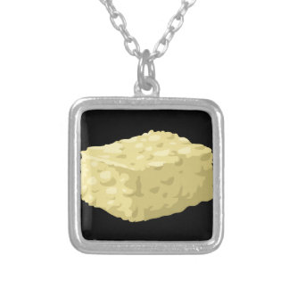 Glitch Food corn syrup squares Silver Plated Necklace