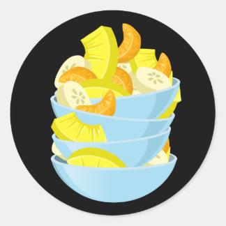 Glitch Food exotic fruit salad Classic Round Sticker