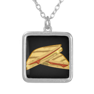 Glitch Food expensive grilled cheese Silver Plated Necklace