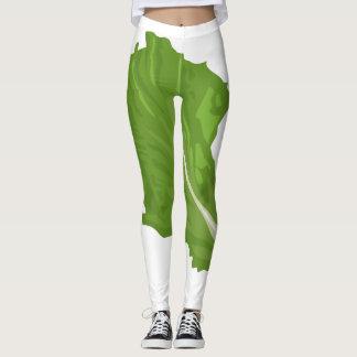 Glitch Food green leaf Leggings