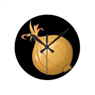 Glitch Food onion Round Clock