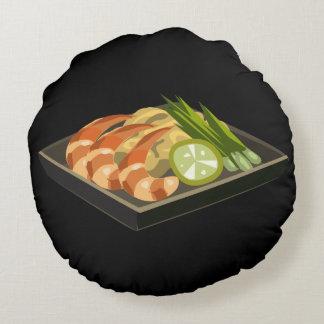 Glitch Food pad tii Round Pillow