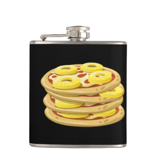Glitch Food papl upside down pizza Hip Flask