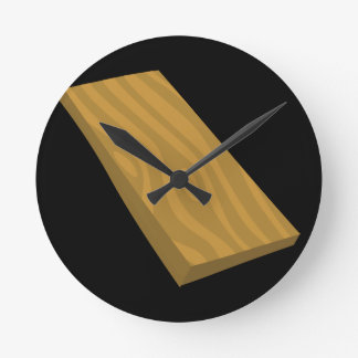 Glitch Food plank Round Clock