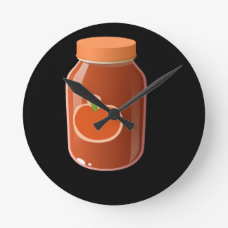 Glitch Food red Round Clock