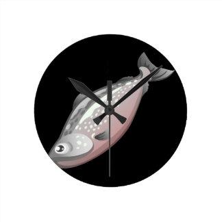 Glitch Food salmon Wall Clocks