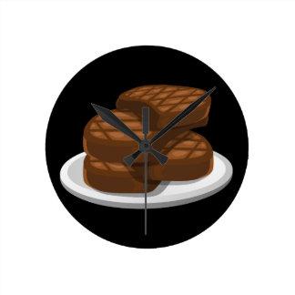 Glitch Food simple bbq Round Clock